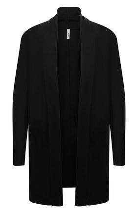 Мужской шерстяной кардиган KAZUYUKI KUMAGAI черного цвета, арт. AC12-279 | Фото 1 (Рукава: Длинные; Длина (для топов): Удлиненные; Материал внешний: Шерсть; Мужское Кросс-КТ: Кардиган-одежда; Стили: Минимализм)