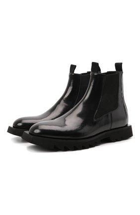Мужские кожаные челси ATTIMONELLI'S черного цвета, арт. AA642 | Фото 1 (Материал внутренний: Натуральная кожа; Подошва: Плоская; Мужское Кросс-КТ: Сапоги-обувь, Челси-обувь)