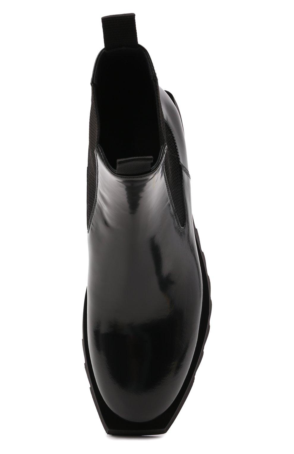 Мужские кожаные челси ATTIMONELLI'S черного цвета, арт. AA642 | Фото 5 (Материал внутренний: Натуральная кожа; Подошва: Плоская; Мужское Кросс-КТ: Сапоги-обувь, Челси-обувь)