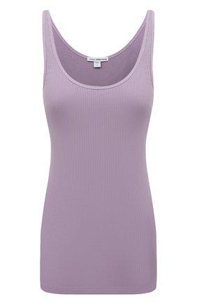 Женский хлопковый топ JAMES PERSE фиолетового цвета, арт. WNL3102   Фото 1 (Материал внешний: Хлопок; Стили: Минимализм; Длина (для топов): Стандартные)