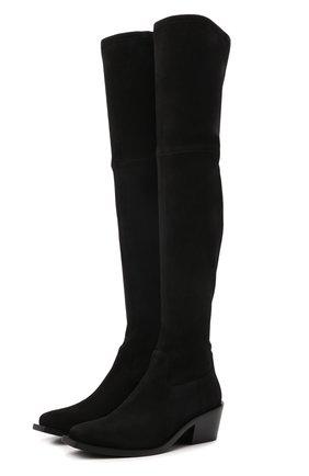 Женские замшевые ботфорты STUART WEITZMAN черного цвета, арт. S6121   Фото 1 (Материал внутренний: Натуральная кожа; Каблук тип: Устойчивый; Подошва: Плоская; Материал внешний: Замша; Каблук высота: Средний, Низкий; Высота голенища: Высокие)