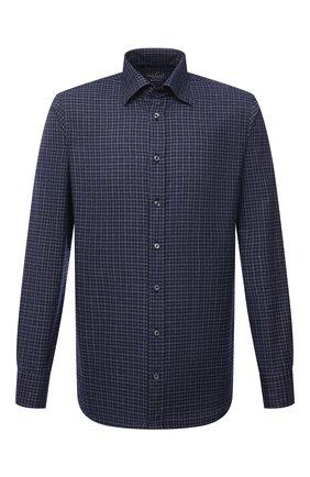 Мужская хлопковая рубашка VAN LAACK темно-синего цвета, арт. RADIL-SF/156538 | Фото 1 (Материал внешний: Хлопок; Случай: Повседневный; Принт: Клетка; Рукава: Длинные; Рубашки М: Slim Fit; Манжеты: На пуговицах; Воротник: Кент; Стили: Кэжуэл; Длина (для топов): Стандартные)