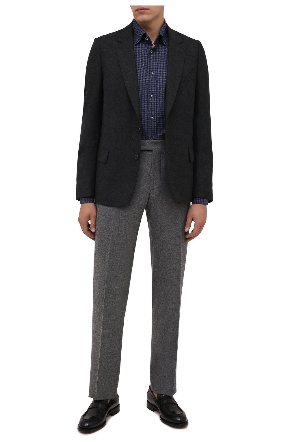 Мужская хлопковая рубашка VAN LAACK темно-синего цвета, арт. RADIL-SF/156538 | Фото 2 (Манжеты: На пуговицах; Принт: Клетка; Воротник: Кент; Рукава: Длинные; Случай: Повседневный; Длина (для топов): Стандартные; Рубашки М: Slim Fit; Материал внешний: Хлопок; Стили: Кэжуэл)