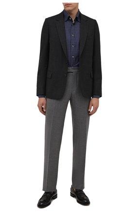 Мужская хлопковая рубашка VAN LAACK темно-синего цвета, арт. RADIL-SF/156538 | Фото 2 (Материал внешний: Хлопок; Случай: Повседневный; Принт: Клетка; Рукава: Длинные; Рубашки М: Slim Fit; Манжеты: На пуговицах; Воротник: Кент; Стили: Кэжуэл; Длина (для топов): Стандартные)
