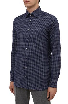 Мужская хлопковая рубашка VAN LAACK темно-синего цвета, арт. RADIL-SF/156538 | Фото 3 (Манжеты: На пуговицах; Принт: Клетка; Воротник: Кент; Рукава: Длинные; Случай: Повседневный; Длина (для топов): Стандартные; Рубашки М: Slim Fit; Материал внешний: Хлопок; Стили: Кэжуэл)