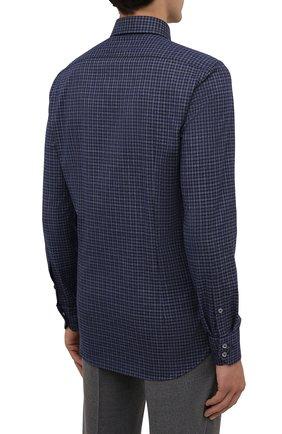 Мужская хлопковая рубашка VAN LAACK темно-синего цвета, арт. RADIL-SF/156538 | Фото 4 (Манжеты: На пуговицах; Принт: Клетка; Воротник: Кент; Рукава: Длинные; Случай: Повседневный; Длина (для топов): Стандартные; Рубашки М: Slim Fit; Материал внешний: Хлопок; Стили: Кэжуэл)