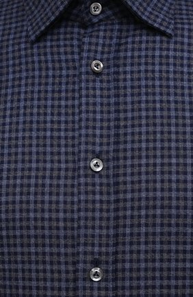 Мужская хлопковая рубашка VAN LAACK темно-синего цвета, арт. RADIL-SF/156538 | Фото 5 (Манжеты: На пуговицах; Принт: Клетка; Воротник: Кент; Рукава: Длинные; Случай: Повседневный; Длина (для топов): Стандартные; Рубашки М: Slim Fit; Материал внешний: Хлопок; Стили: Кэжуэл)