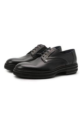 Мужские кожаные дерби ZILLI черного цвета, арт. MDS-A071/012 | Фото 1 (Стили: Классический; Материал внутренний: Текстиль)