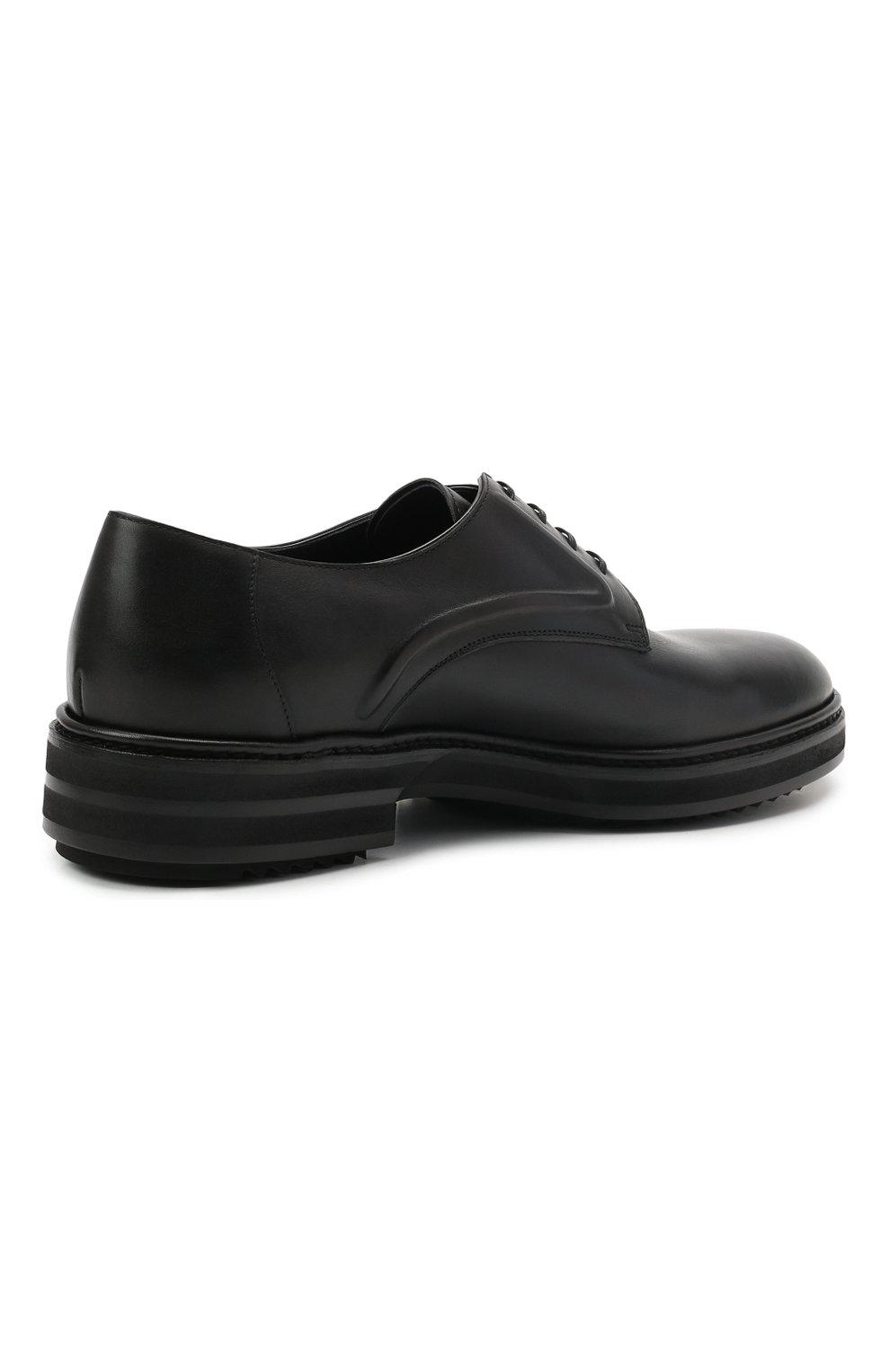Мужские кожаные дерби ZILLI черного цвета, арт. MDS-A071/012 | Фото 4 (Стили: Классический; Материал внутренний: Текстиль)