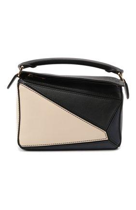 Женская сумка puzzle mini LOEWE синего цвета, арт. A510U95X34 | Фото 1 (Ремень/цепочка: На ремешке; Размер: mini; Материал: Натуральная кожа; Сумки-технические: Сумки top-handle)