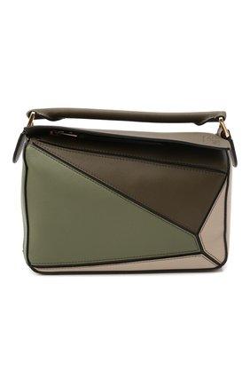 Женская сумка puzzle small LOEWE зеленого цвета, арт. A510S21X55   Фото 1 (Материал: Натуральная кожа; Размер: small; Сумки-технические: Сумки top-handle; Ремень/цепочка: На ремешке)