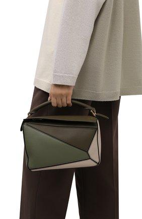 Женская сумка puzzle small LOEWE зеленого цвета, арт. A510S21X55   Фото 2 (Материал: Натуральная кожа; Размер: small; Сумки-технические: Сумки top-handle; Ремень/цепочка: На ремешке)