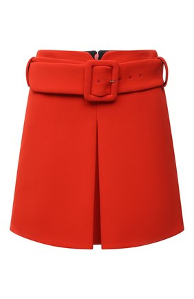 Женская юбка из вискозы VERSACE оранжевого цвета, арт. 1002742/1A01502   Фото 1 (Материал подклада: Синтетический материал; Материал внешний: Вискоза; Длина Ж (юбки, платья, шорты): Мини; Стили: Гламурный; Женское Кросс-КТ: Юбка-одежда)