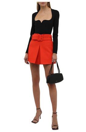 Женская юбка из вискозы VERSACE оранжевого цвета, арт. 1002742/1A01502   Фото 2 (Материал подклада: Синтетический материал; Материал внешний: Вискоза; Длина Ж (юбки, платья, шорты): Мини; Стили: Гламурный; Женское Кросс-КТ: Юбка-одежда)