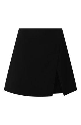 Женская шерстяная юбка VERSACE черного цвета, арт. 1001712/1A01798   Фото 1 (Материал подклада: Синтетический материал; Длина Ж (юбки, платья, шорты): Мини; Материал внешний: Шерсть; Стили: Гламурный; Женское Кросс-КТ: Юбка-одежда)