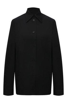 Женская шерстяная рубашка JIL SANDER черного цвета, арт. JSWT605206-WT202500 | Фото 1 (Материал внешний: Шерсть; Стили: Минимализм; Рукава: Длинные; Принт: Без принта; Женское Кросс-КТ: Рубашка-одежда; Длина (для топов): Стандартные, Удлиненные)