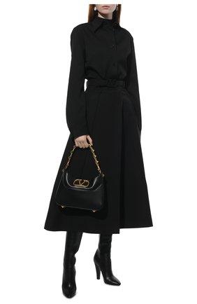 Женская шерстяная рубашка JIL SANDER черного цвета, арт. JSWT605206-WT202500 | Фото 2 (Материал внешний: Шерсть; Стили: Минимализм; Рукава: Длинные; Принт: Без принта; Женское Кросс-КТ: Рубашка-одежда; Длина (для топов): Стандартные, Удлиненные)