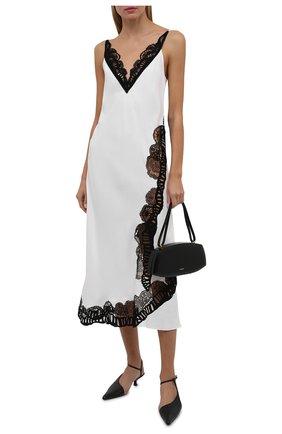 Женское платье из вискозы JIL SANDER белого цвета, арт. JSWT506680-WT381500 | Фото 2 (Материал внешний: Вискоза; Длина Ж (юбки, платья, шорты): Миди; Стили: Минимализм; Случай: Вечерний; Женское Кросс-КТ: Сарафаны)