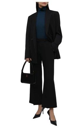 Женская водолазка из вискозы JIL SANDER бирюзового цвета, арт. JSCT705011-WT397908   Фото 2 (Материал внешний: Вискоза; Стили: Минимализм; Рукава: Длинные; Длина (для топов): Стандартные; Женское Кросс-КТ: Водолазка-одежда)