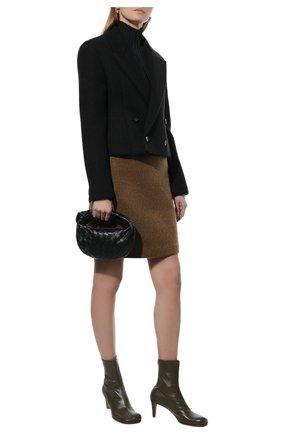 Женские кожаные ботильоны the block BOTTEGA VENETA хаки цвета, арт. 667208/VBS00 | Фото 2 (Материал внутренний: Натуральная кожа; Каблук тип: Устойчивый; Подошва: Плоская; Каблук высота: Средний)
