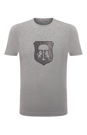 Мужская хлопковая футболка CORNELIANI серого цвета, арт. 88G587-1825015/00   Фото 1 (Материал внешний: Хлопок; Принт: С принтом; Рукава: Короткие; Стили: Кэжуэл; Длина (для топов): Стандартные)