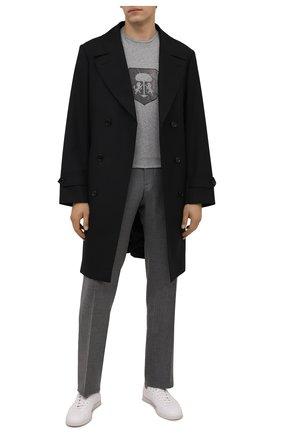 Мужская хлопковая футболка CORNELIANI серого цвета, арт. 88G587-1825015/00   Фото 2 (Материал внешний: Хлопок; Принт: С принтом; Рукава: Короткие; Стили: Кэжуэл; Длина (для топов): Стандартные)