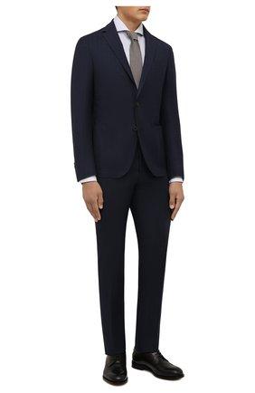 Мужской шерстяной костюм CORNELIANI темно-синего цвета, арт. 88N700-1817404/92 | Фото 1 (Материал подклада: Синтетический материал; Материал внешний: Шерсть; Рукава: Длинные; 1-2-бортные: Однобортные; Стили: Классический)