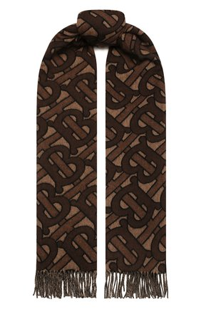 Мужской кашемировый шарф BURBERRY коричневого цвета, арт. 8019230 | Фото 1 (Материал: Шерсть, Кашемир; Кросс-КТ: кашемир)