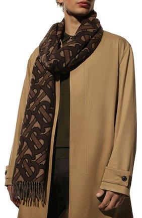 Мужской кашемировый шарф BURBERRY коричневого цвета, арт. 8019230 | Фото 2 (Материал: Шерсть, Кашемир; Кросс-КТ: кашемир)