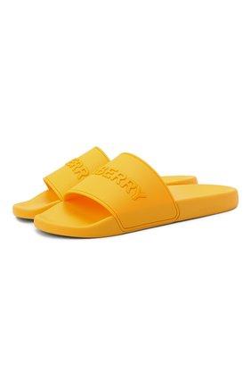 Мужские шлепанцы BURBERRY желтого цвета, арт. 8043690 | Фото 1 (Материал внешний: Экокожа)
