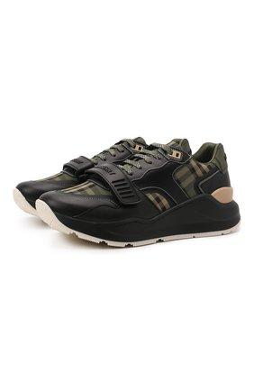 Мужские комбинированные кроссовки ramsey BURBERRY зеленого цвета, арт. 8043202 | Фото 1 (Материал внутренний: Натуральная кожа; Подошва: Массивная; Материал внешний: Текстиль; Стили: Гранж)