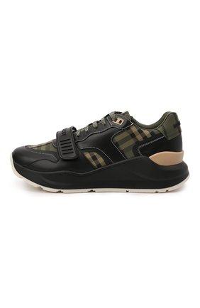 Мужские комбинированные кроссовки ramsey BURBERRY зеленого цвета, арт. 8043202 | Фото 2 (Материал внутренний: Натуральная кожа; Подошва: Массивная; Материал внешний: Текстиль; Стили: Гранж)