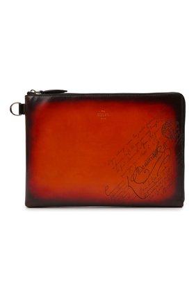 Мужская кожаная папка для документов BERLUTI оранжевого цвета, арт. M224712 | Фото 1 (Материал: Натуральная кожа)