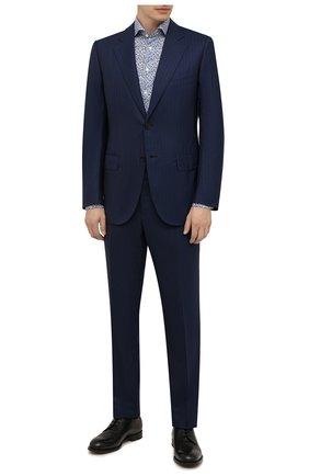 Мужская сорочка ETON голубого цвета, арт. 1000 03096 | Фото 2 (Манжеты: На пуговицах; Рукава: Длинные; Воротник: Акула; Длина (для топов): Стандартные; Принт: С принтом; Рубашки М: Slim Fit; Материал внешний: Хлопок, Лиоцелл; Стили: Классический; Случай: Формальный)