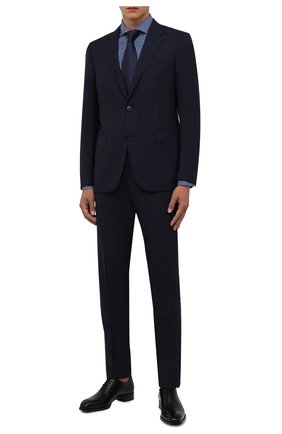 Мужская сорочка ETON синего цвета, арт. 1000 02555 | Фото 2 (Длина (для топов): Стандартные; Материал внешний: Лиоцелл, Хлопок; Рукава: Длинные; Случай: Формальный; Принт: Клетка; Рубашки М: Regular Fit; Манжеты: На пуговицах; Стили: Классический; Воротник: Акула)