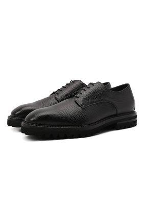 Мужские кожаные дерби W.GIBBS черного цвета, арт. 6358003/2568 | Фото 1 (Материал внутренний: Текстиль; Стили: Классический)