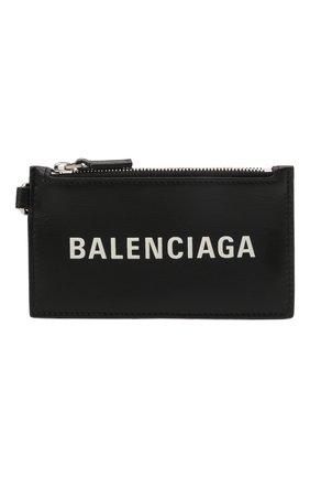 Мужской кожаный футляр для кредитных карт BALENCIAGA черного цвета, арт. 594548/2101A | Фото 1