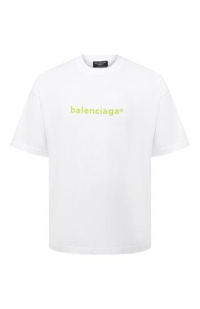 Мужская хлопковая футболка BALENCIAGA белого цвета, арт. 612966/TIV54 | Фото 1 (Материал внешний: Хлопок; Принт: С принтом; Рукава: Короткие; Длина (для топов): Стандартные)