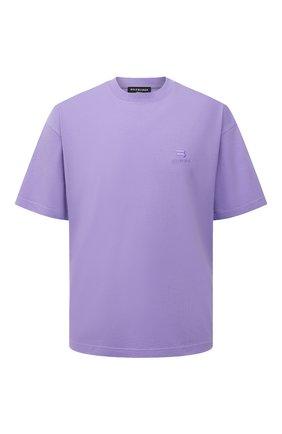 Мужская хлопковая футболка BALENCIAGA сиреневого цвета, арт. 612966/TLV99 | Фото 1 (Материал внешний: Хлопок; Принт: Без принта; Рукава: Короткие; Стили: Спорт-шик; Длина (для топов): Стандартные)