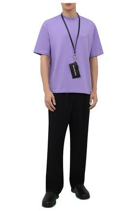 Мужская хлопковая футболка BALENCIAGA сиреневого цвета, арт. 612966/TLV99 | Фото 2 (Материал внешний: Хлопок; Принт: Без принта; Рукава: Короткие; Стили: Спорт-шик; Длина (для топов): Стандартные)