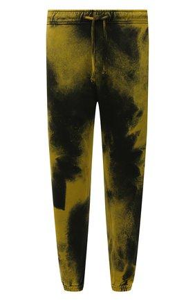 Мужские хлопковые джоггеры DIESEL желтого цвета, арт. A03302/0TCAN | Фото 1 (Материал внешний: Хлопок; Силуэт М (брюки): Джоггеры; Стили: Спорт-шик; Мужское Кросс-КТ: Брюки-трикотаж; Длина (брюки, джинсы): Стандартные)