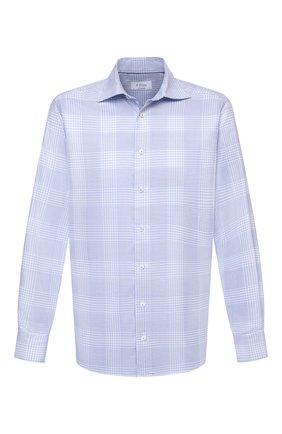 Мужская хлопковая сорочка ETON голубого цвета, арт. 1000 02478 | Фото 1 (Материал внешний: Хлопок; Случай: Формальный; Рукава: Длинные; Принт: Клетка; Рубашки М: Slim Fit; Манжеты: На пуговицах; Стили: Классический; Воротник: Акула; Длина (для топов): Стандартные)