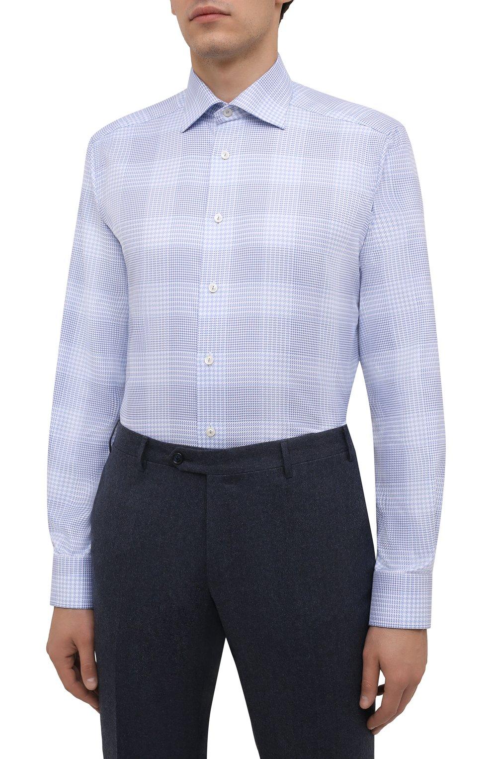 Мужская хлопковая сорочка ETON голубого цвета, арт. 1000 02478   Фото 3 (Манжеты: На пуговицах; Принт: Клетка; Рукава: Длинные; Воротник: Акула; Длина (для топов): Стандартные; Рубашки М: Slim Fit; Материал внешний: Хлопок; Стили: Классический; Случай: Формальный)