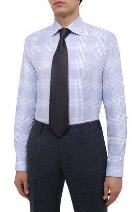 Мужская хлопковая сорочка ETON голубого цвета, арт. 1000 02478   Фото 4 (Манжеты: На пуговицах; Принт: Клетка; Рукава: Длинные; Воротник: Акула; Длина (для топов): Стандартные; Рубашки М: Slim Fit; Материал внешний: Хлопок; Стили: Классический; Случай: Формальный)