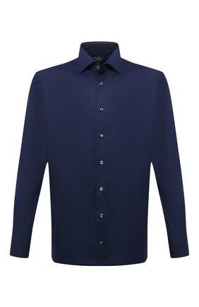 Мужская хлопковая сорочка VAN LAACK темно-синего цвета, арт. RIVARA-TFN/150018 | Фото 1 (Материал внешний: Хлопок; Случай: Формальный; Рукава: Длинные; Принт: Однотонные; Рубашки М: Slim Fit; Манжеты: На пуговицах; Стили: Классический; Воротник: Акула; Длина (для топов): Стандартные)