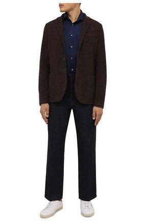 Мужская хлопковая сорочка VAN LAACK темно-синего цвета, арт. RIVARA-TFN/150018 | Фото 2 (Материал внешний: Хлопок; Случай: Формальный; Рукава: Длинные; Принт: Однотонные; Рубашки М: Slim Fit; Манжеты: На пуговицах; Стили: Классический; Воротник: Акула; Длина (для топов): Стандартные)