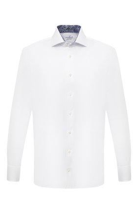 Мужская хлопковая сорочка VAN LAACK белого цвета, арт. RIVARA-TF05/131540 | Фото 1 (Материал внешний: Хлопок; Случай: Формальный; Рукава: Длинные; Принт: Однотонные; Рубашки М: Regular Fit; Манжеты: На пуговицах; Стили: Классический; Воротник: Акула; Длина (для топов): Стандартные)
