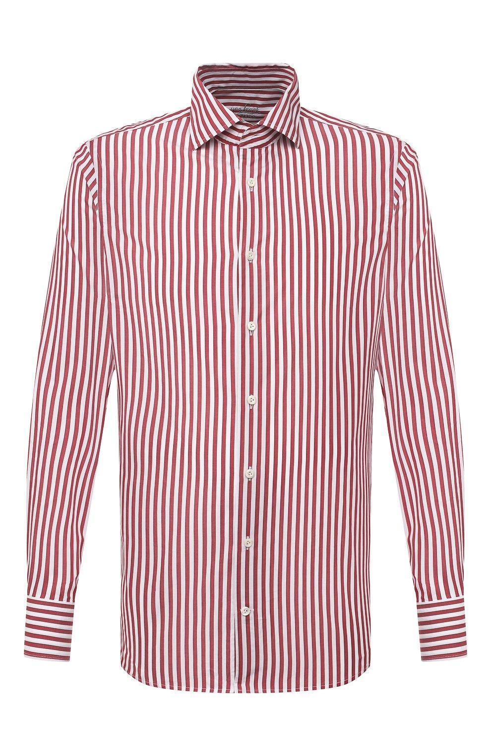 Мужская хлопковая сорочка VAN LAACK бордового цвета, арт. RIVARA-SFW/162406   Фото 1 (Манжеты: На пуговицах; Рукава: Длинные; Воротник: Акула; Принт: Полоска; Длина (для топов): Стандартные; Рубашки М: Slim Fit; Материал внешний: Хлопок; Стили: Классический; Случай: Формальный)