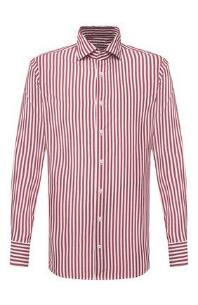 Мужская хлопковая сорочка VAN LAACK бордового цвета, арт. RIVARA-SFW/162406 | Фото 1 (Материал внешний: Хлопок; Рукава: Длинные; Длина (для топов): Стандартные; Случай: Формальный; Принт: Полоска; Рубашки М: Slim Fit; Манжеты: На пуговицах; Стили: Классический; Воротник: Акула)