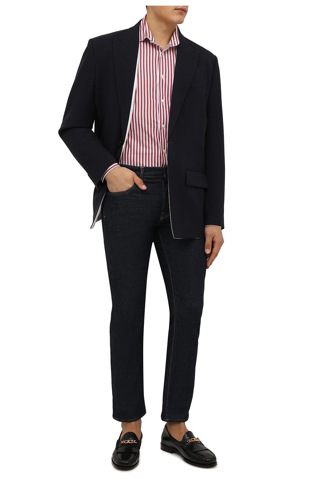 Мужская хлопковая сорочка VAN LAACK бордового цвета, арт. RIVARA-SFW/162406   Фото 2 (Манжеты: На пуговицах; Рукава: Длинные; Воротник: Акула; Принт: Полоска; Длина (для топов): Стандартные; Рубашки М: Slim Fit; Материал внешний: Хлопок; Стили: Классический; Случай: Формальный)